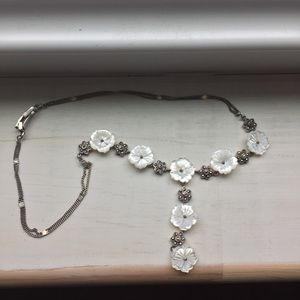 Jewelry - Silver and marquasite with mother of pearl flowers